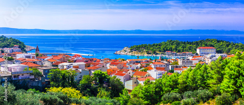 Splendid view of beautiful Adriatic coast. Makarska riviera in Croatia