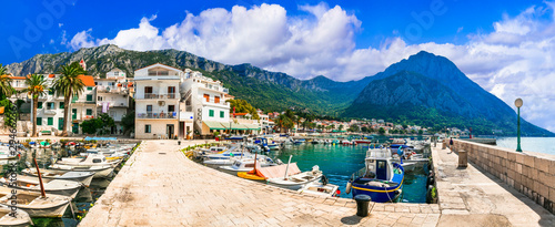 Breathtaking scenery of beautiful Adriatic coast in Dalmatia, Croatia. Gradac village and tourist resort