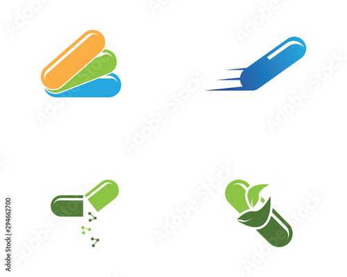Obraz na plátně  Capsule health medical icon and symbol template