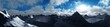 SnSnow peaks against the sky. Panorama of the mountains at sunset. 3D rendering.ow peaks against the sky. Panorama of the mountains at sunset. .