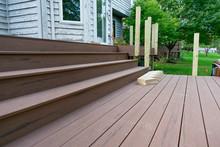 New Backyard Home Deck Being C...