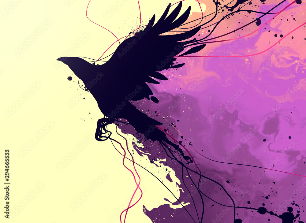 Fototapeta drawing of a raven with elements of abstraction and splashes