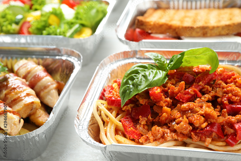 Fototapety, obrazy: Lunchboxes on table, closeup. Healthy food delivery