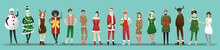Merry Christmas , Group Of Teens In Christmas Costume Concept Isolated On Blue Background , Vector, Illustration