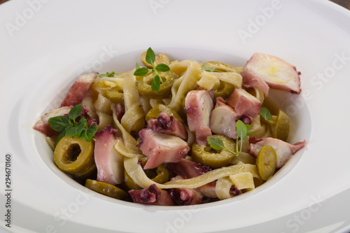 Pasta with octopus Canvas Print