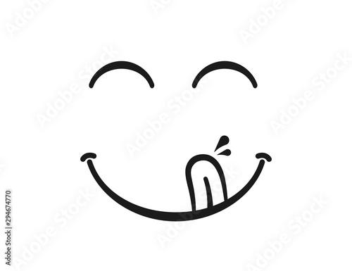 Fototapeta Yummy smile. Delicious, tasty eating emoji face eat with mouth and tongue gourmet enjoying taste obraz