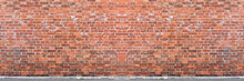 Horizontal Red Orange And Brown Brick Wall In Urban City Wallpaper