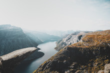 Breathtaking Views Of Norwegian National Park, River And Fjords At Bright Day.