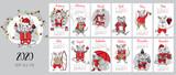 Fototapeta Fototapety na ścianę do pokoju dziecięcego - 2020. Calendar. Mouse hand drawn illustration. New Year card.