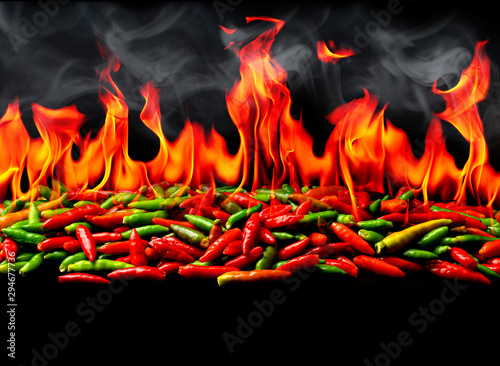 Papiers peints Hot chili Peppers Group of Red Hot chili pepper on fire and smoke