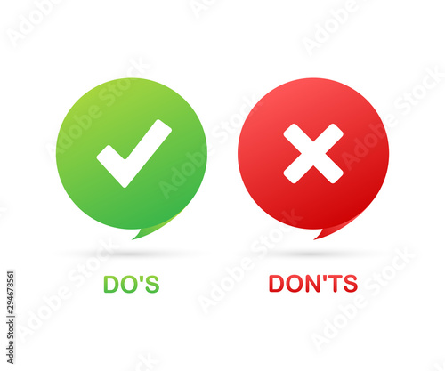 Fotografía  Do's and Don'ts like thumbs up or down