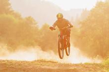 Man Riding Mountain Bike Dowhnill Forest Dirt Trail