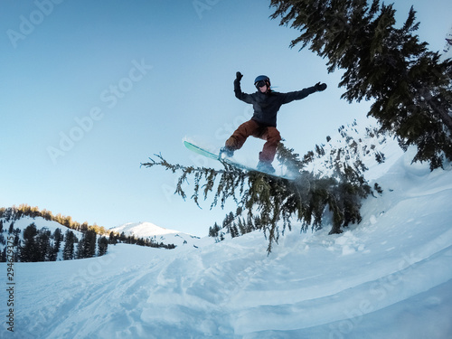 Snowboarder Riding Tree Branch