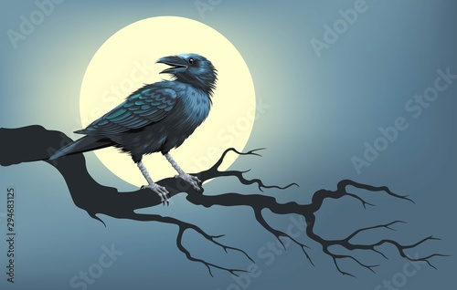 Raven on a tree in front of the moon Poster Mural XXL