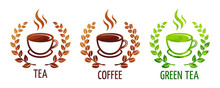 Coffee And Tea Cups Vector Sym...