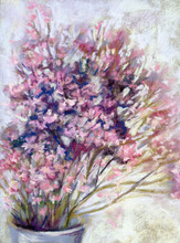 Original Soft Pastel Drawing Of Bouquet Of Pink Flowers