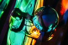 Abstract Composition With Colorful Holographic Background And Crystal Ball