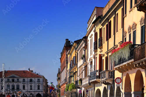 Staande foto Oude gebouw view on historical colored buildings in the downtown of padua in italy