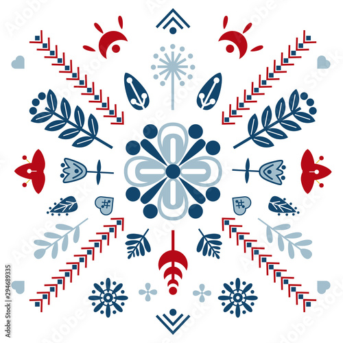 Folk art vector ornament with symbols, hearts, and flowers фототапет