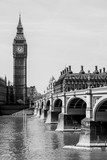 Fototapeta Londyn - Westminster Bridge with River Thames and Big Bang Clock in Background, London, England, UK