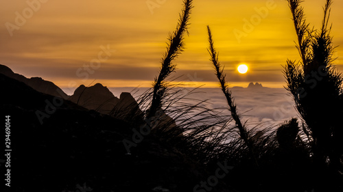 Sunrise above the clouds, seen from Acu Castles peak, with Tres Picos mountain i Canvas Print