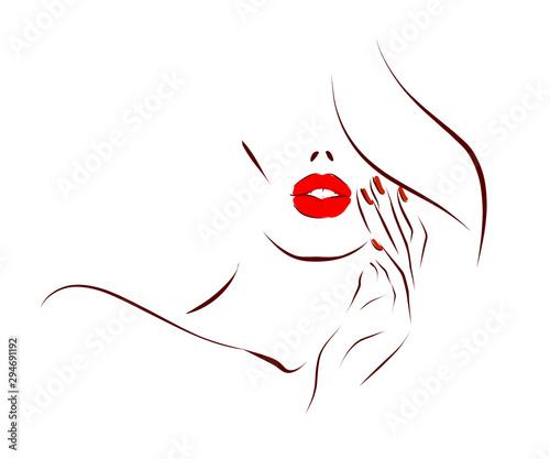 Fotografia Woman's face, hair, hand