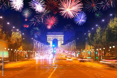 Canvas Print Arc de triumph at Paris and fireworks in night sky