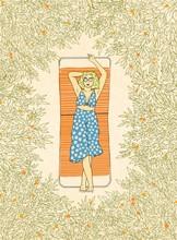 Woman On Summer Vacation Illustration