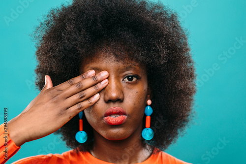 Young afro hairstyle woman.