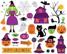 Halloween Vector Cartoon Design Elements And Decoration Set