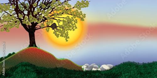 Fotobehang Uil owl in tree illustration