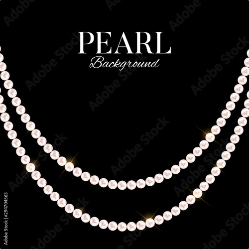 Canvas Print Abstract background with natural pearl garlands of beads