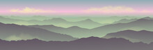 Dawn Background Landscape, Misty Fog On Mountain Slopes. Abstract Gradient Background, Vector Illustration.