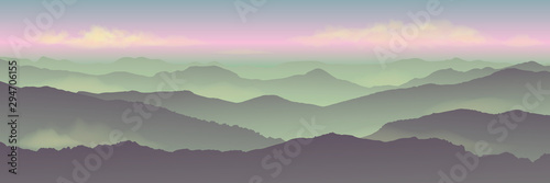 Foto auf Leinwand Olivgrun Dawn background landscape, misty fog on mountain slopes. Abstract gradient background, vector illustration.