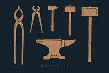 Blacksmith Tools On A Dark Bac...