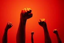 Power Fist Raising In Red