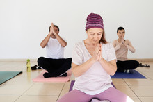 Praying Hands Yoga Class.