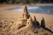 Sand Castle On Beach At Hanalei Bay, Kauai