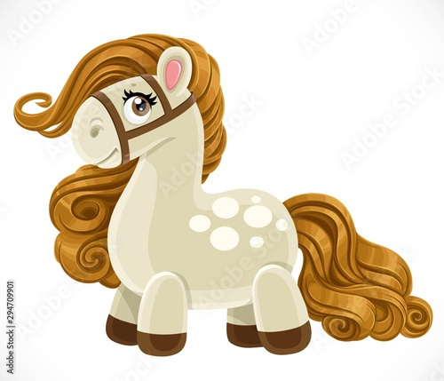 Cute cartoon toy lush mane pony isolated on white background