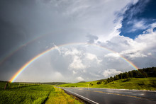 Double Rainbow Over Road And G...