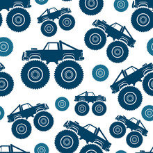 Seamless Pattern. Monster Truck Vector Drawing. Isolated Object On A White Background. Texture.