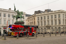 Fire Truck At Place Royale  In Brussels, Belgium On December 30, 2018.