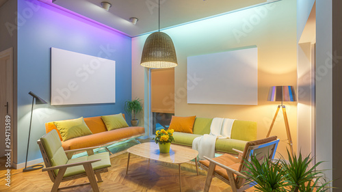 Vászonkép  Modern Livingroom with colored led light - picture background