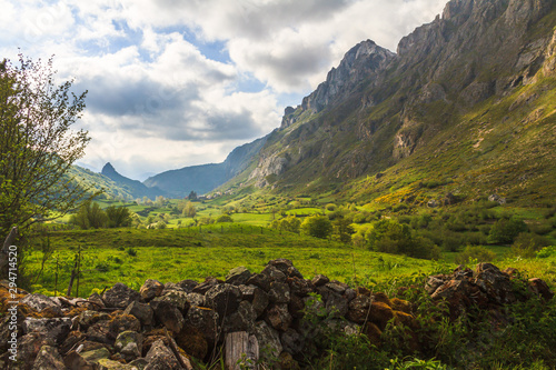 View mountain valley with clouds natural summer landscape - 294714520