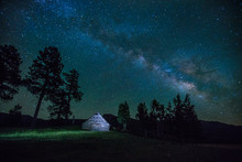 Milky Way Over A Barn In Color...