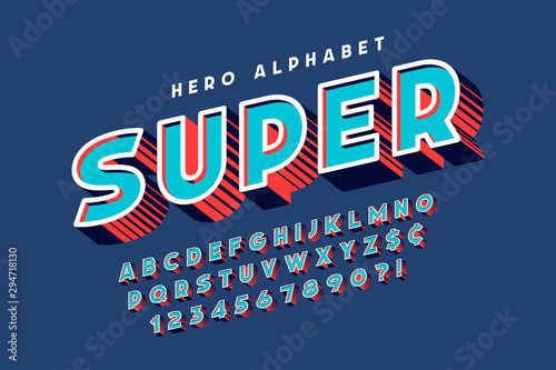Carta da parati Trendy 3d comical font design, colorful alphabet, typeface.