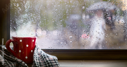 Obraz Autumn season background, red cup with hot drink and wet autumnal window - fototapety do salonu