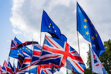 Flags Of European Union And Great Britain.