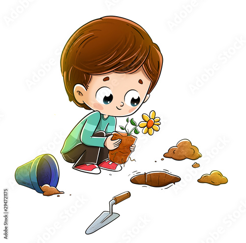 Child planting a plant in the soil Canvas-taulu