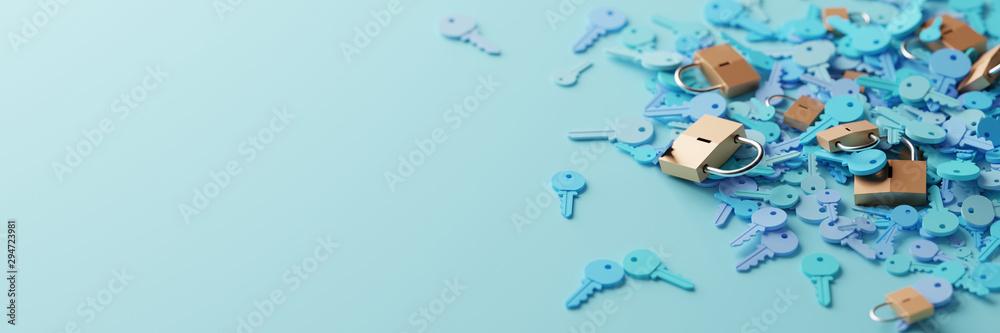 Fototapeta Padlocks with infinite keys, metaphor of problems, solutions  and risk management; original 3d rendering